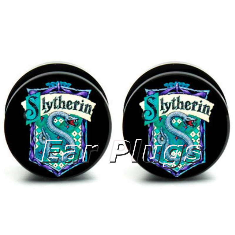 Wholesale Slytherin logo plug gauges acrylic screw on flesh tunnel ear plugs 6-25mm 60 pieces A0798