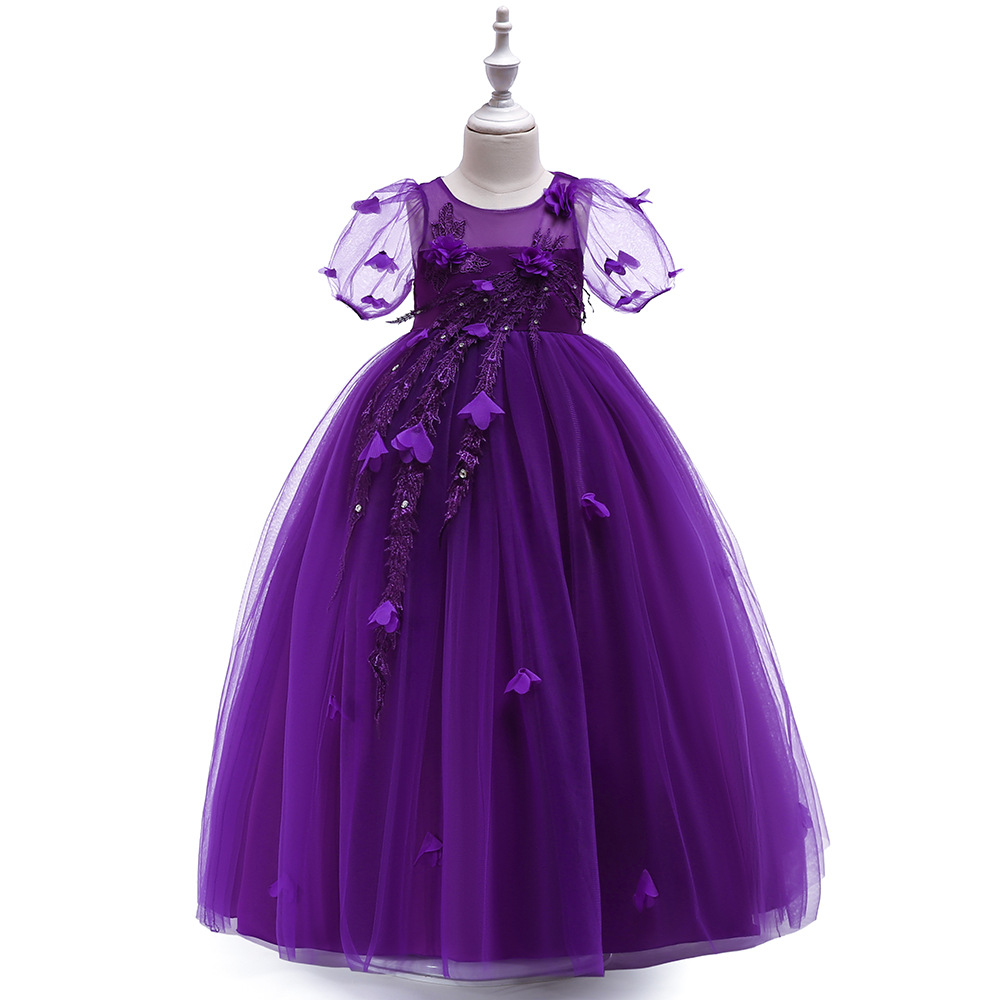 Free shipping Purple   flower     girl     dresses   Robe fille enfant mariage de soiree Pageant   dresses   for Prom   girls