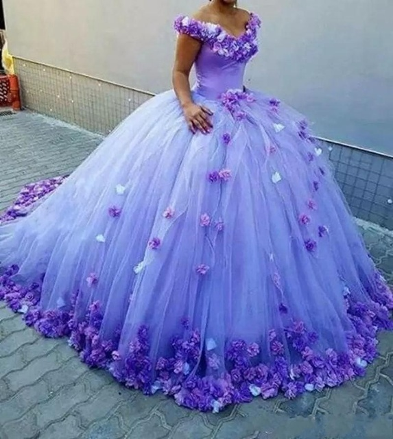 Gorgeous Purple Quinceanera Dresses Hand Made Flowers Ball gown ...