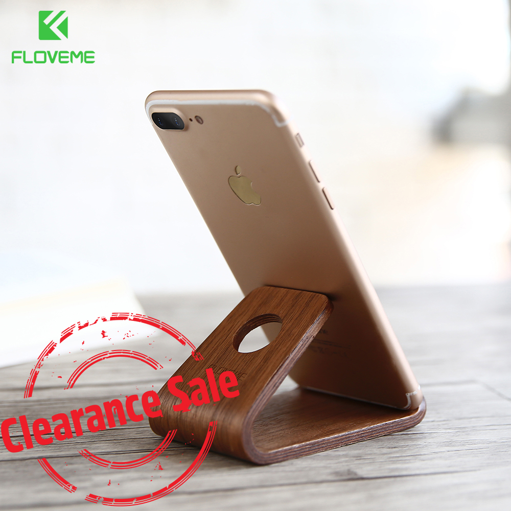 FLOVEME Natural Wooden Phone Stand Holder For iPhone X 8 7 Universal Cellphone Desk Stand Smasrtphone Holder For iPad Tablet