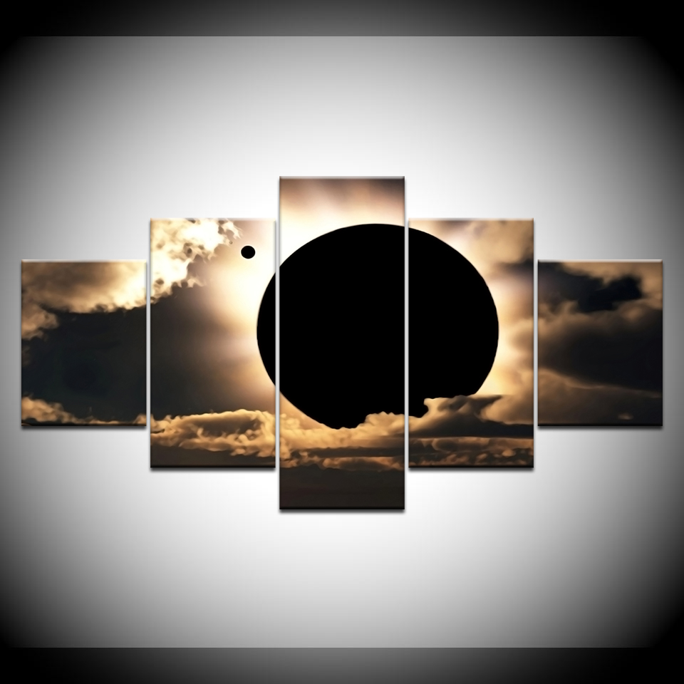 Canvas Painting Total solar eclipse scene 5 Pieces Wall Art Painting Modular Wallpapers Poster Print for living room Home Decor