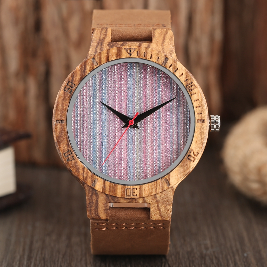 Unique Stripes Lines Dial Wooden Watch Mens Bamboo Creative Quartz Clock Genuine Leather Bangle Reloj de madera 2017 New Fashion  (20)