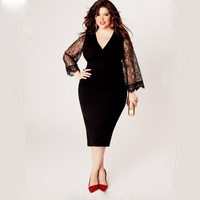 S FLAVOR Brand Summer Dress 2017 Womens Dresses V Neck Black Lace Vestidos Women Party Robe