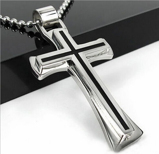 Fashion Punk Cool Black Silver Stainless Steel Cross Pendant Necklace With Chain For Women Men Jewelry Jewelry Gifts Wholesale