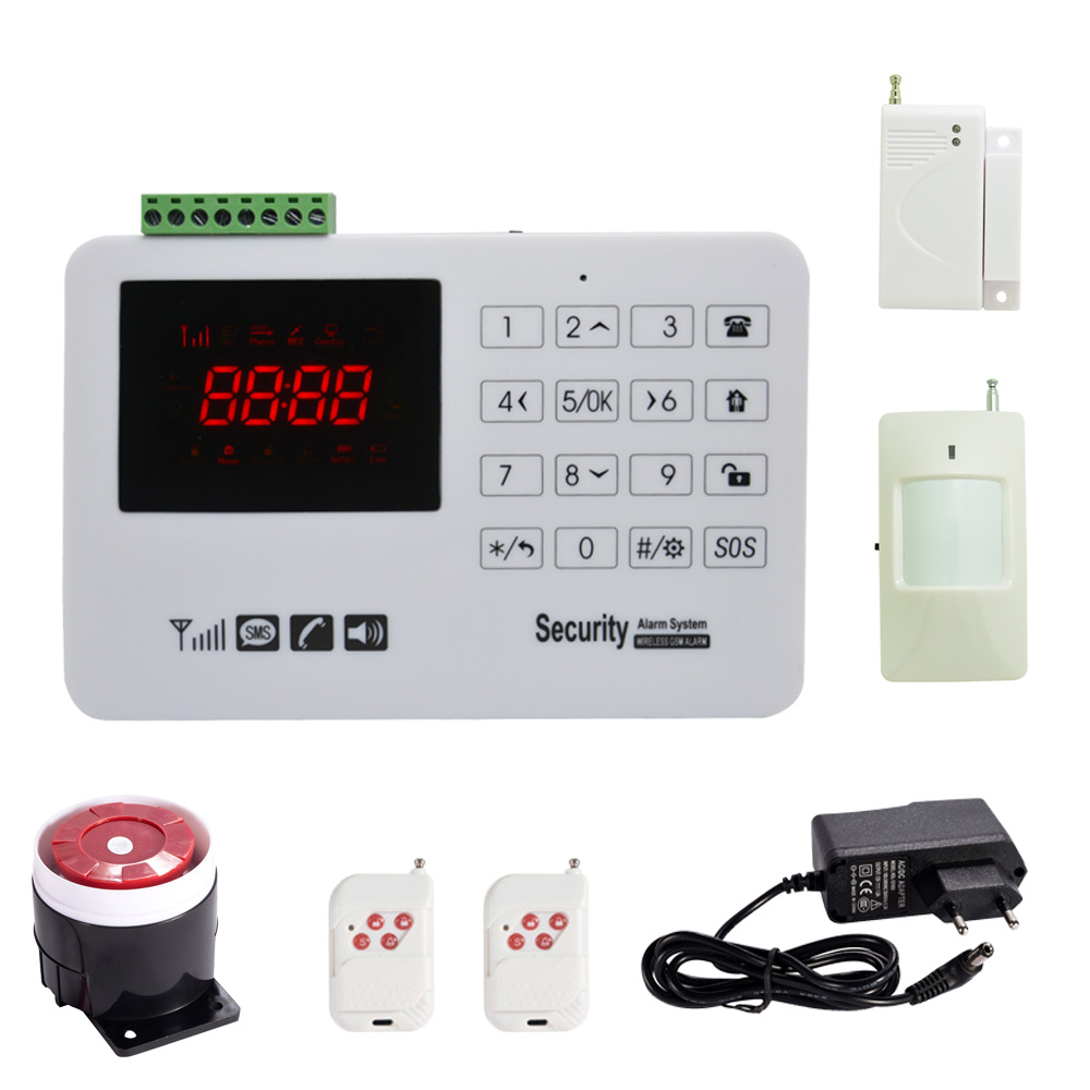 Home security protection GSM SMS wireless Alarm system PIR Motion detector Smoke alarm Magnet door Sensor Wireless siren