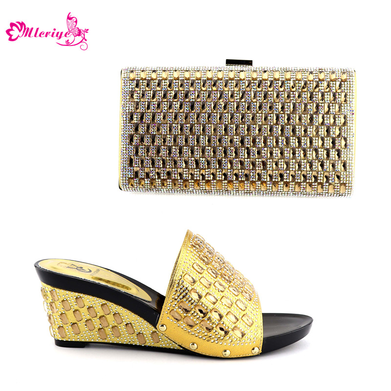 186-1 Gold Color Matching Italian Shoes and Bag Set Women Shoes and Bag Set In Italy Nigerian Women Wedding Shoes and Bag Sets cd158 1 free shipping hot sale fashion design shoes and matching bag with glitter item in black