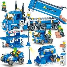 KAZI 64091 318pcs 4 IN 1 Freight Center Building Blocks Bricks Educational Toys For Children DIY Assemble Leogings City Truck