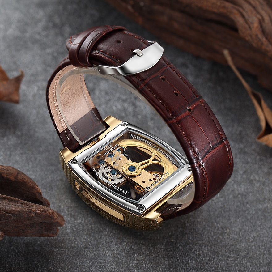 Transparent Automatic Mechanical Watch Men Steampunk Skeleton Luxury Gear Self Winding Leather Men's Clock Watches montre homme 6