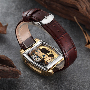 Image 5 - Transparent Automatic Mechanical Watch Men Steampunk Skeleton Luxury Gear Self Winding Leather Mens Clock Watches montre homme