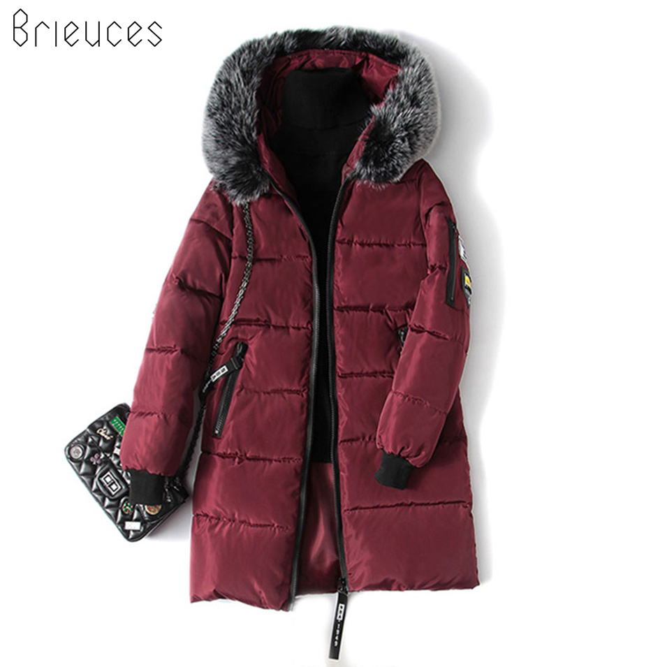 Fashion Snow Wear Large Fur Collar Ladies Coats 2018 Winter Coat Women Parka Long Thick Slim Womens Coats And Jackets Outerwear womens winter jackets and coats parka 2017 fashion baseball coats chaquetas monler mujer purple black green blueplus size 3xl