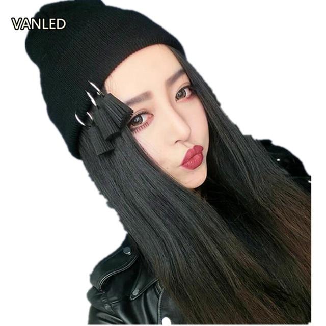 2d61bad15f9 Street Harajuku Pendant Hoop Knit Hat Tassel Female Autumn Warm Winter Ear  Muffs Beanies