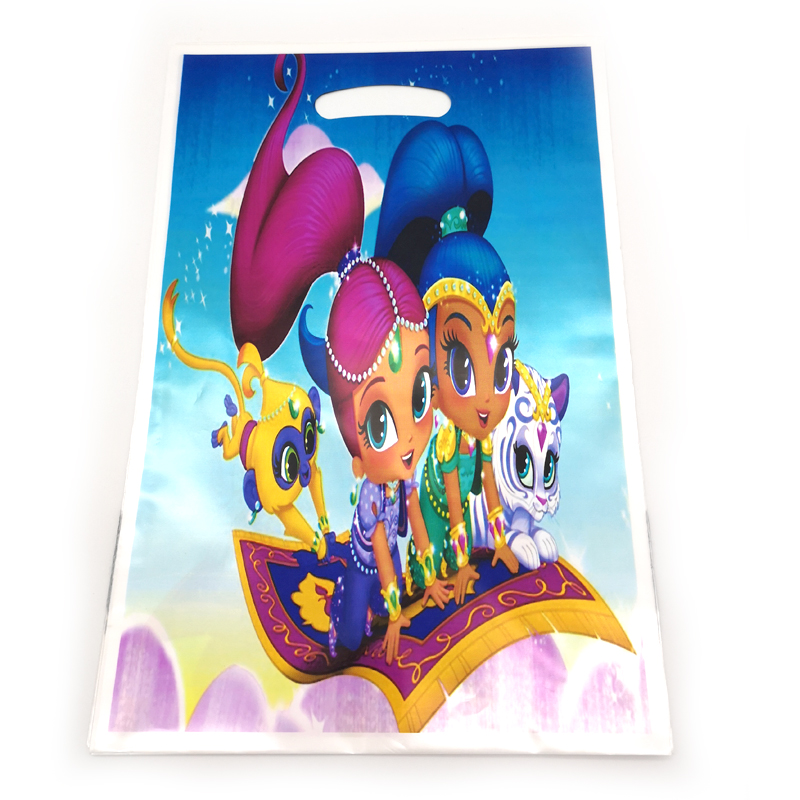 Shimmer And Shine Theme Baby Shower Plastic Gifts Bags Happy