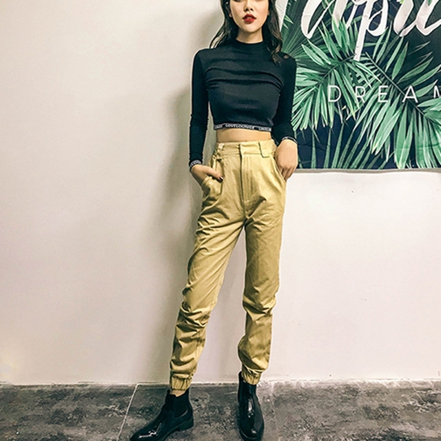 High waist loose joggers army pants street wear black cargo pants trousers 3