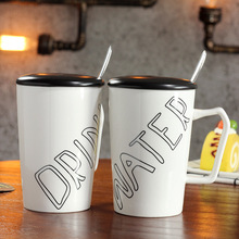 English Alphabet Ceramic Cup with Lid Spoon Mug Simple Creative Coffee Breakfast Milk Travel Self Stirring