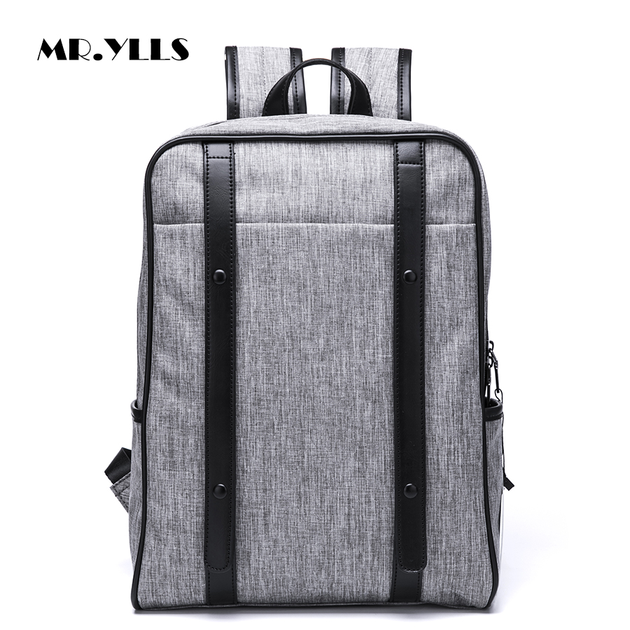 MR.YLLS Preppy Style Men Travel Backpack Canvas+Pu Zipper Leisure Backpack Male Laptop 14 Inch Notebook Computer Bags School Bag 13 14 15 6 17 3 inch computer shoulder bag shockproof laptop backpack canvas leisure men women laptop notebook backpack