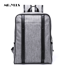 MR.YLLS Preppy Style Men Travel Backpack Canvas+Pu Zipper Leisure Backpack Male Laptop 14 Inch Notebook Computer Bags School Bag