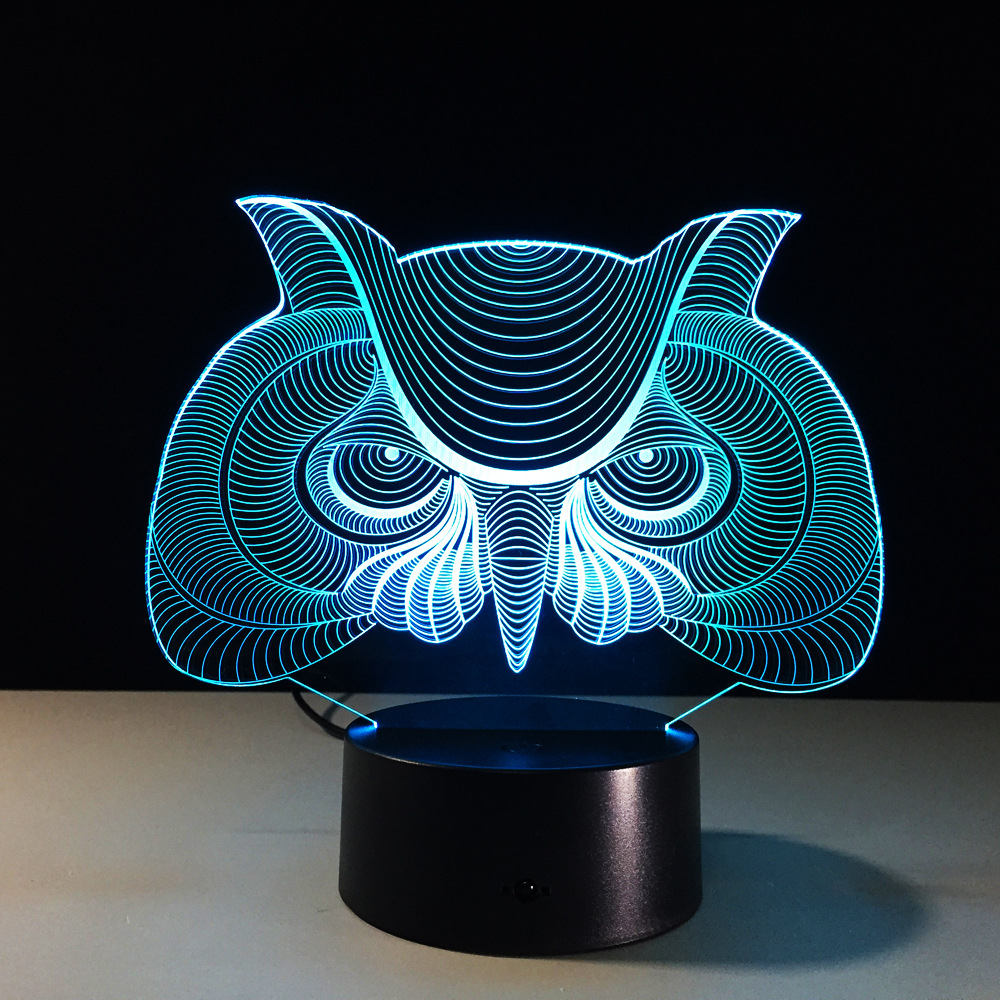 Night owl reading lamps - Owl Shape 3d Led Night Light Baby Room Decoration Lamp Acrylic Color Changing Table Lights