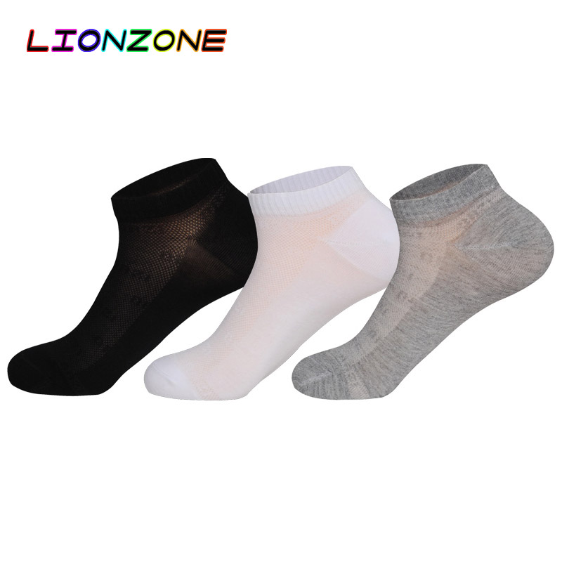LIONZONE 3Pairs/Lot Solid Sporty Ankle Men Socks Compression Spring Antibacterial Breathable Invisible Socks Bamboo Boat Sox