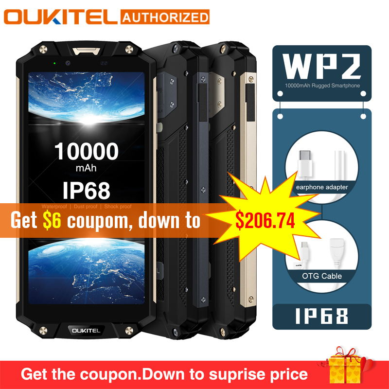 OUKITEL WP2 IP68 impermeable polvo a prueba de golpes del teléfono móvil 4G RAM 64G ROM Octa Core 6,0 10000 mAh huella dactilar Smartphone phablet