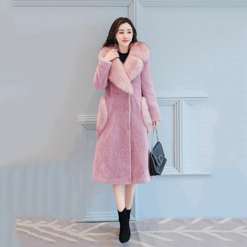 Survêtement 2017 Grande Hiver Imitation Femelle Longue Fourrure Mi dark Khaki Femmes pink De Manteau Taille Chaud Veste Dd753 Nouvelle Gray Mode Col Mince Épaississent black r7war