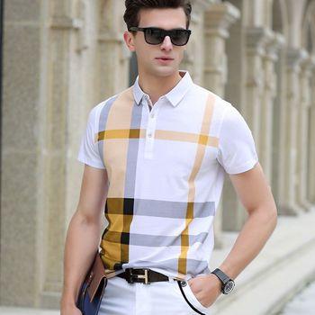 2019 lato polo koszula mężczyzna odzież bawełniana z krótkim rękawem marki business casual plaid projektant homme camisa oddychająca plus rozmiar tanie i dobre opinie COTTON Smart Casual Szeroki zwężone Gradient Przycisk HAYBLST red yellow blue biger luxury