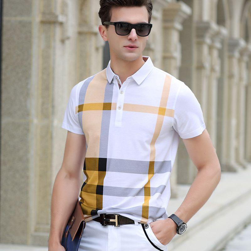 Haute qualité polo shirt hommes marque vêtements à manches courtes business casual plaid designer homme camisa respirant plus la taille XXXL