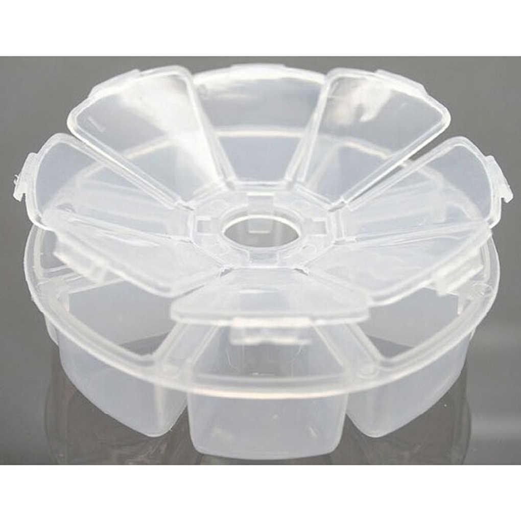 Hữu ích Mini Nhựa Tròn 8 Cell Ngăn Viên Trang Sức Organiser Hộp Đựng Bảo Quản Hộp Ốp lưng