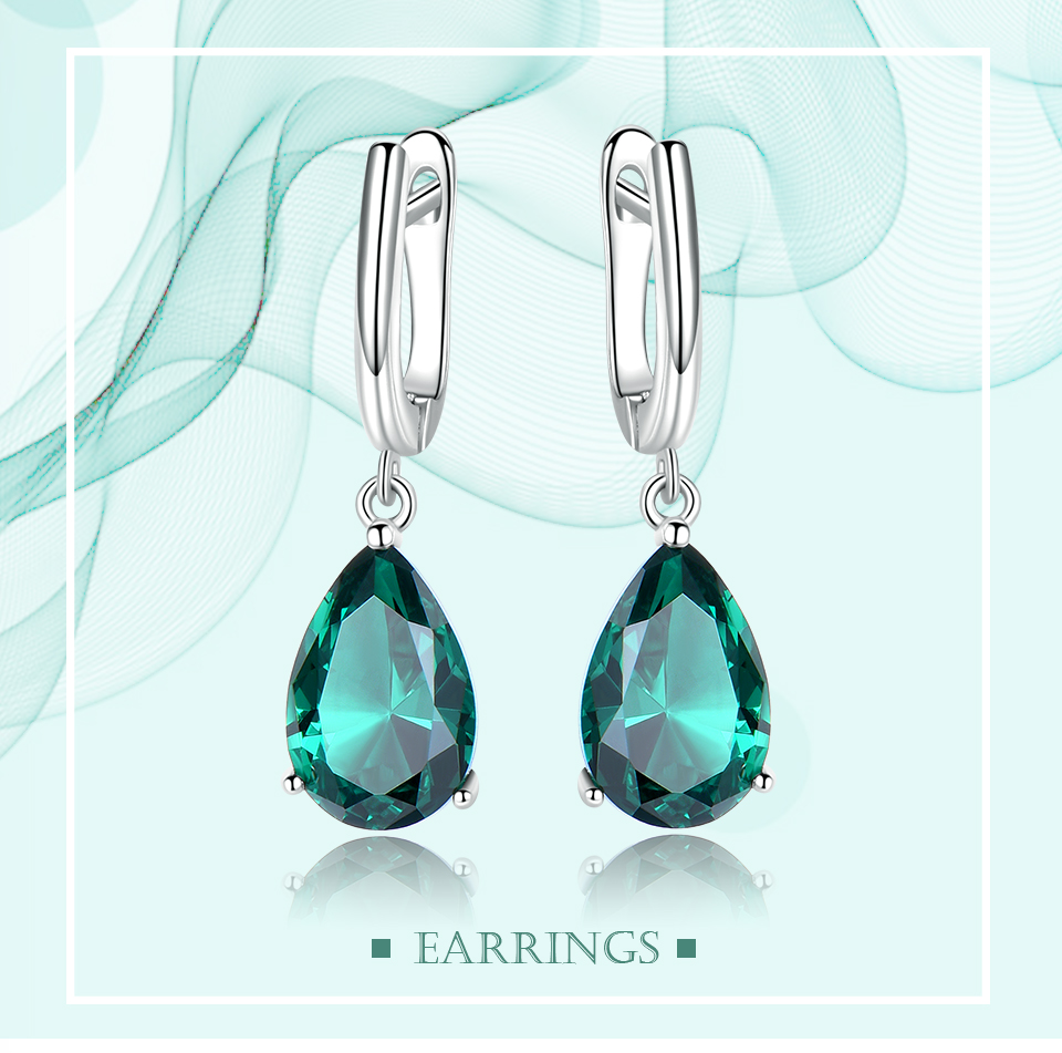 UMCHO ??Emerald 925 sterling silver earring for women EUJ094E-1-pc (1)