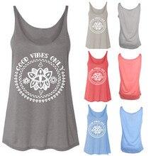 Женская мода плюс размер o-образным вырезом с буквенным принтом топы без рукавов Однотонная футболка harajuku camisetas verano mujer harajuku