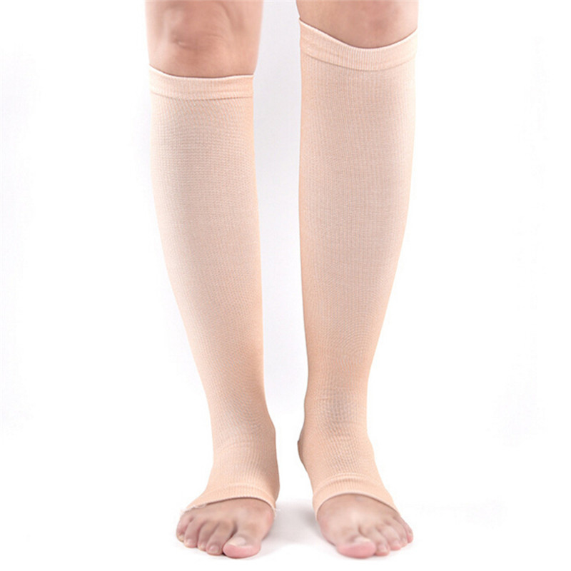 High Quality Hot 1Pair 42cm Nylon Elastic Toeless Compression Stockings Support Knee High Tip Open