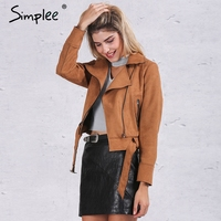 Simplee Apparel Oversized Collar Leather Suede Jacket Coat Belted Motorcycle Jacket Short Winter Jacket 2016 New