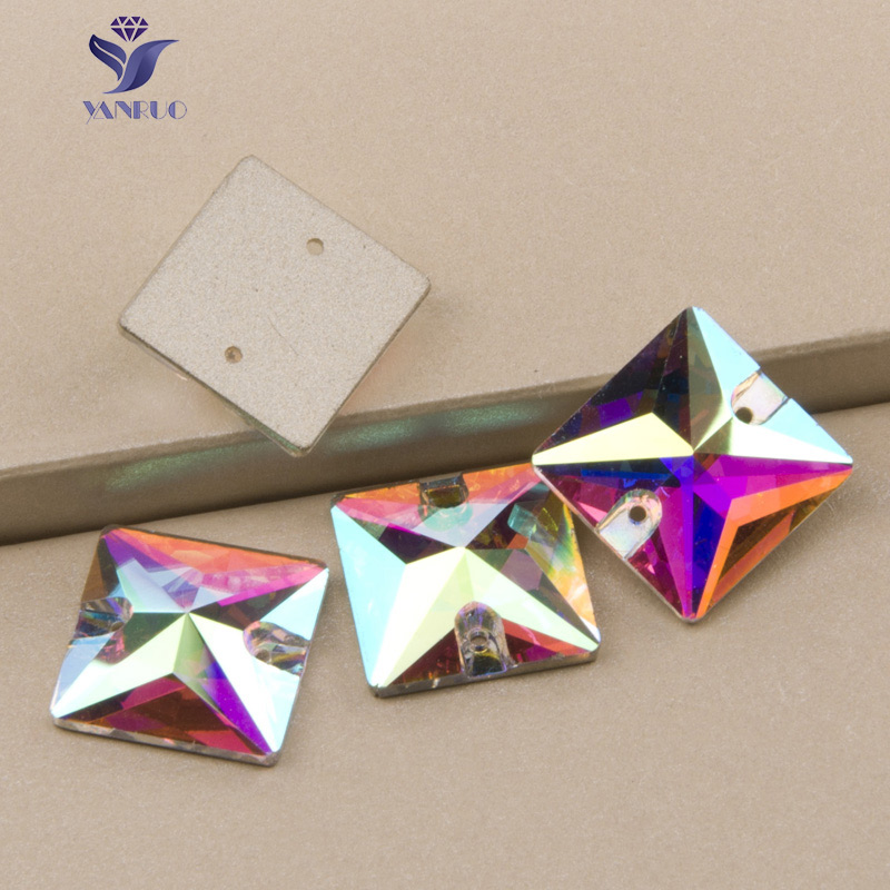 YANRUO 3240 22mm 24pcs Sew On <font><b>Square</b></font> Rhinestones Stones Glass Crystal Sewing Glass Beads For Clothes Dresses