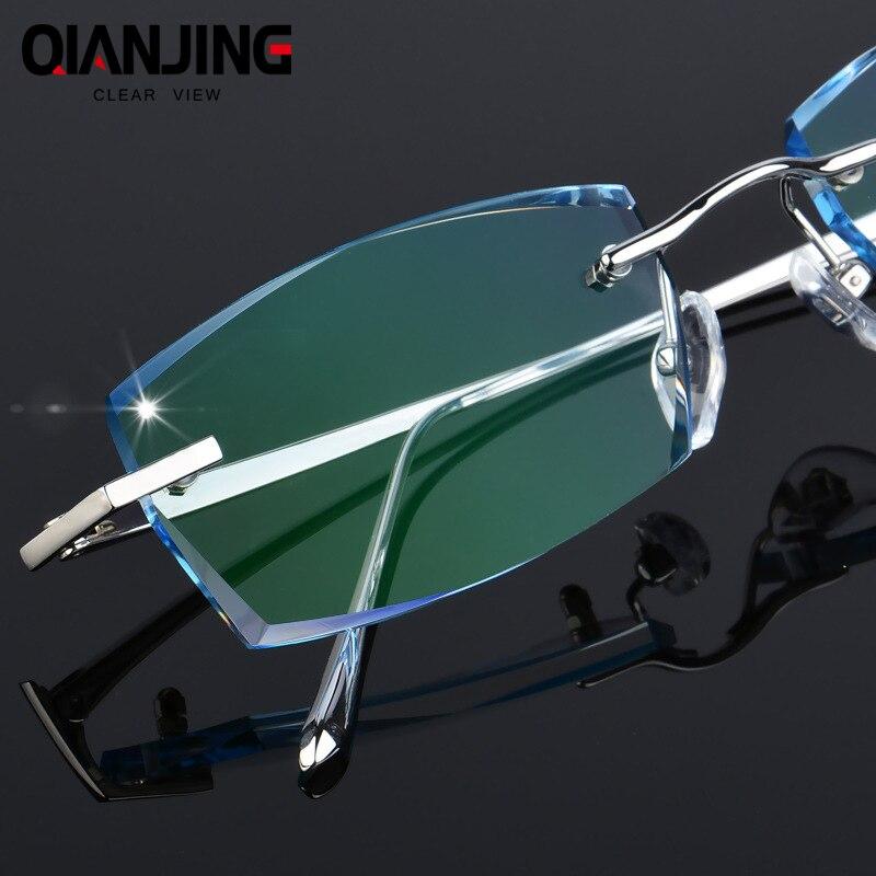 QJ Luxury Rhinestone Reading Glasses Men Diamond Cutting Rimless Glasses High Clear Men s Gray Readers