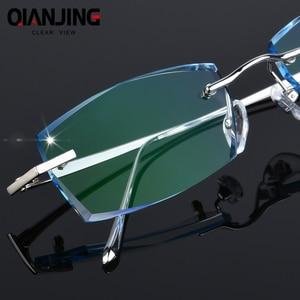 Image 1 - QJ Luxury Rhinestone Reading Glasses Men Diamond Cutting Rimless Glasses High Clear Mens Gray Readers Presbyopic Eye Glasses