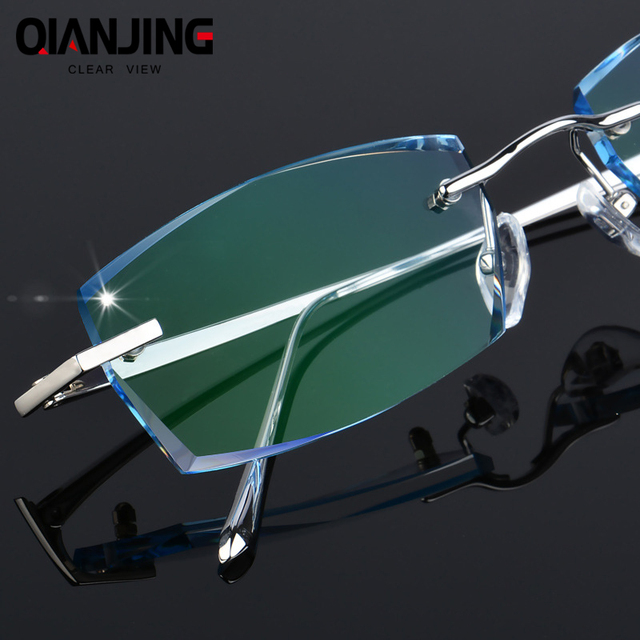 QJ Luxury Rhinestone Reading Glasses Men Diamond Cutting Rimless Glasses High Clear Mens Gray Readers Presbyopic Eye Glasses