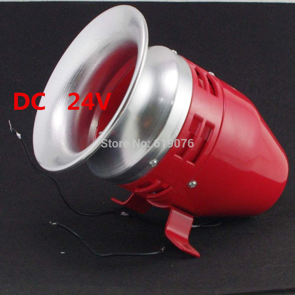 DC 24V Mini Motor Driven Air Raid Siren Horn For Car Truck Alarm MS-390 motor siren ms 490 220v high decibel air raid siren horn motor mining industry double industry boat alarm