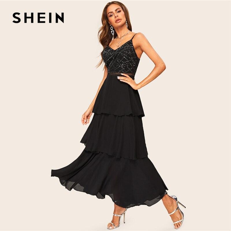 Image 4 - SHEIN Glamorous Black Layered Ruffle Rhinestone Cami Maxi Dress  2019 Spring A Line Sleeveless High Waist Spaghetti Strap  DressesDresses