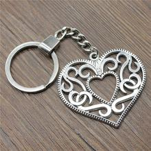 Keyring Hollow Heart Keychain 50x45mm Antique Silver Key Chain Party Souvenir Gifts For Women