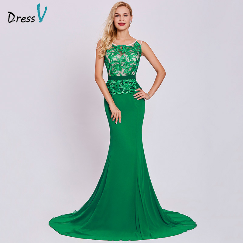 Dressv Dark Green Long Evening Dress Cheap Scoop Neck Embroidery Sleeveless Wedding Party Formal Dress Mermaid Evening Dresses