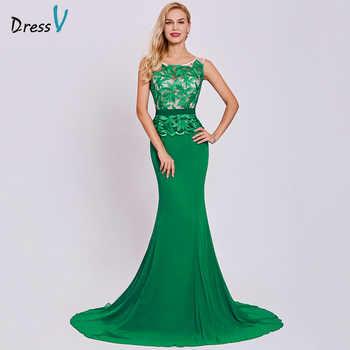 Dressv dark green long evening dress cheap scoop neck embroidery sleeveless wedding party formal dress mermaid evening dresses - DISCOUNT ITEM  45% OFF All Category
