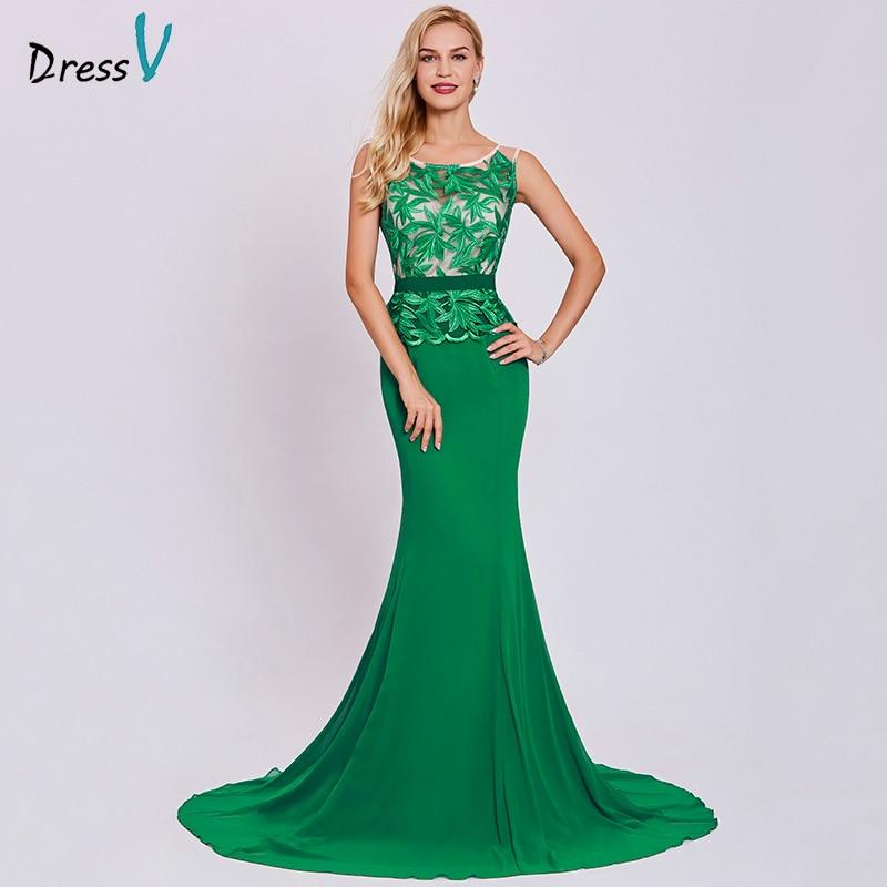 Dressv dark green long   evening     dress   cheap scoop neck embroidery sleeveless wedding party formal   dress   mermaid   evening     dresses