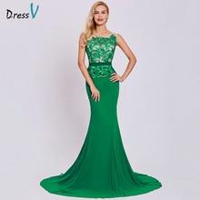 Dressv כהה ירוק ארוך שמלת ערב זול סקופ צוואר רקמת שרוולים מסיבת חתונת פורמליות שמלת בת ים ערב שמלות