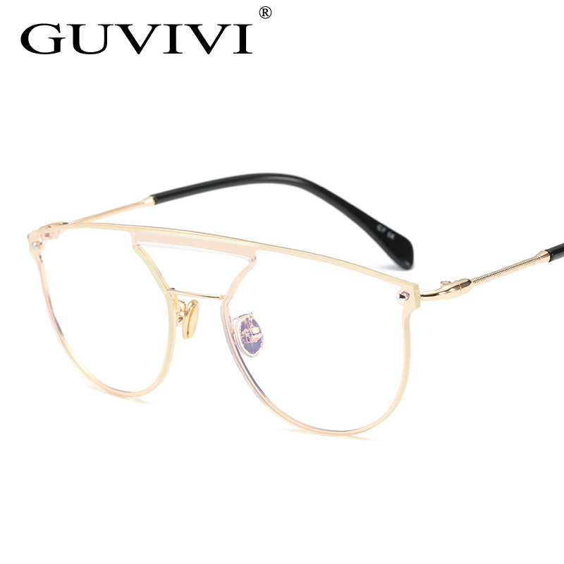 Glasses Frames Virtual Mirror : GUVIVI New Brand Designer Optical Frame Women Metallic ...