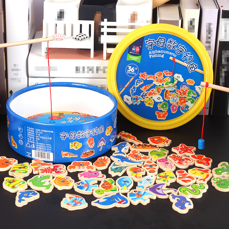 40pcs Children Number Letter Magnetic Fishing Game Children's Game Magnet Fish Toy Game Educational Developing Toys For Children