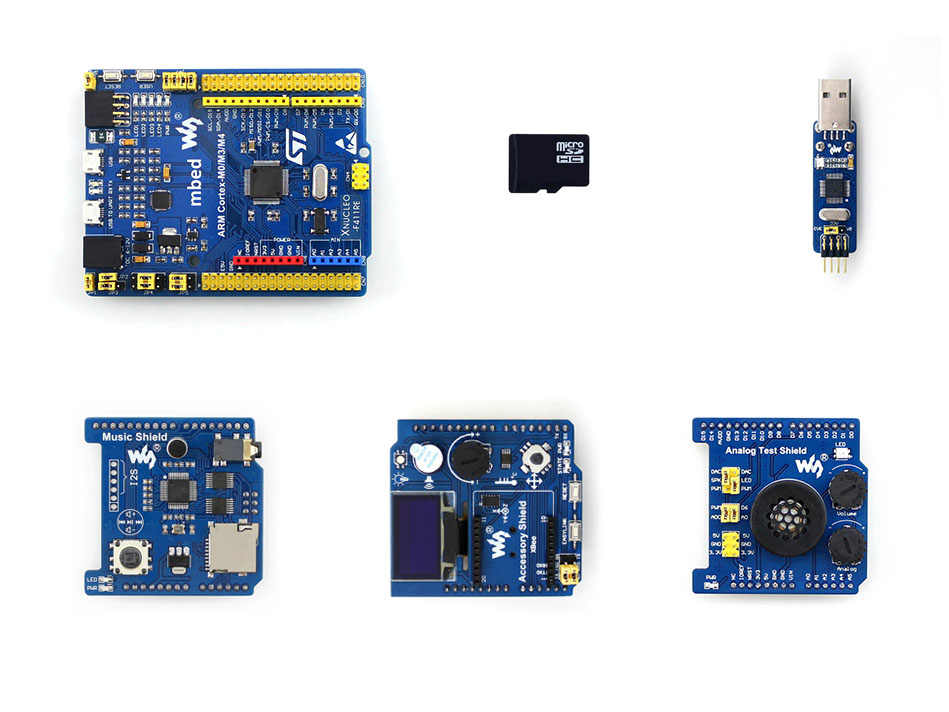 XNUCLEO-F411RE Package B STM32 Nucleo Comes with OLED, RTC, AD/DA, Audio  Codec  onboard Cortex-M4 microcontroller STM32F411RET6