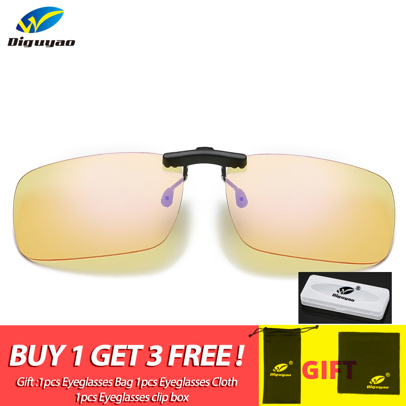 Men High Quality Eyeglasses Anti Blue Ray Clip-on Clip Lens For Light Computer Gaming TV Working Yellow Glasses Clip On Eyewear