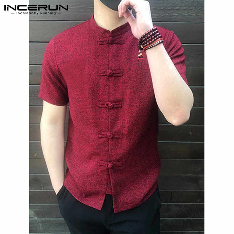 INCERUN 2019 çin tarzı erkek gömlek düğmesi standı yaka kısa kollu rahat gevşek üstleri katı renk Vintage Tang takım elbise gömlek erkekler