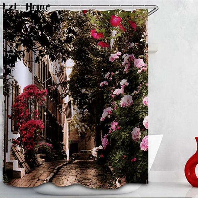 Stof Bloem Rose Douchegordijn Plant Orchidee Waterdichte Thuis