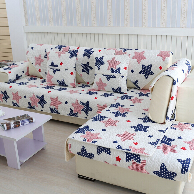 Housse de canape decorativa quilted cushion printed summer cover for sofas cotton fabric couch for Housse de sofa