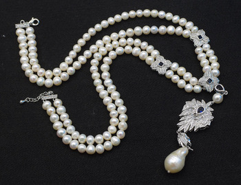 """2rows freshwater pearl  white  near round 8-9mm  necklace  18-20"""" nature FPPJ wholesale beads blue hook"""